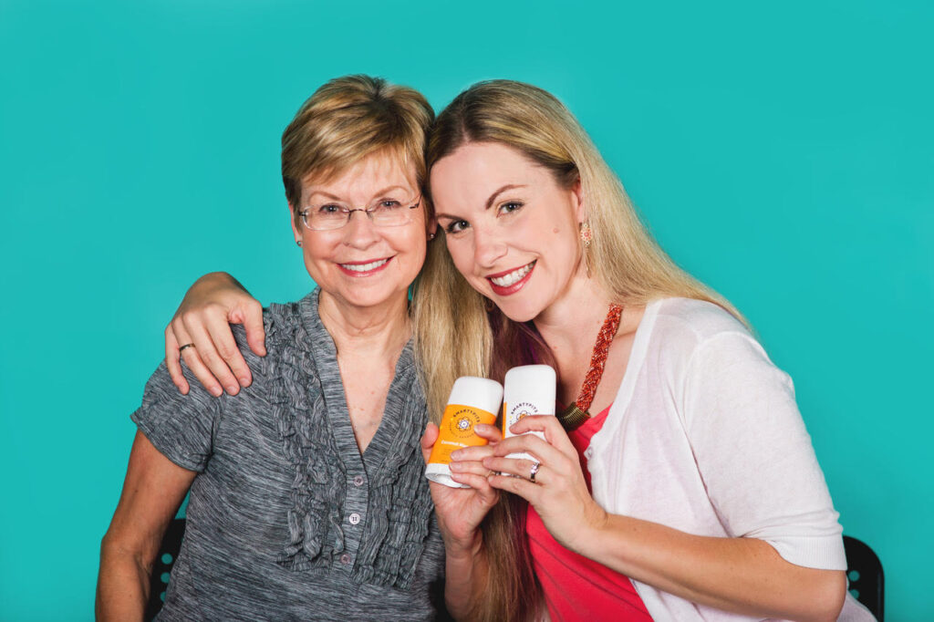 Stacia Guzzo, founder of deodorant manufacturer SmartyPits, with her mom.